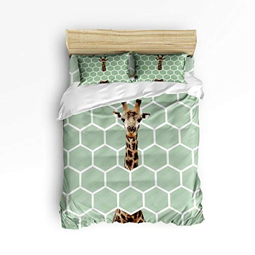 Green Adult Honey - Womenfoucus Luxury 4 Piece Bedding Duvet Cover Sets All-Season Ultra Soft Microfiber Quilt Cover Bedspread and Pillow Shams for Adult/Kids/Teens, Full Size - Funny Giraffe and Green Honeycomb