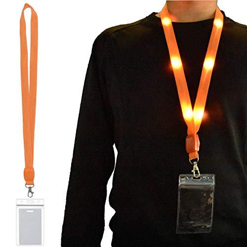 (LED Carnival Cruise Lanyard Light Up Flashing Neon Necklace with ID Badge Key Card Holder Heavy Duty VIP Bright Cool Neck Lanyards for Women Men Kids Disney Disneyland Cruise Gifts (1 Pack - Orange))