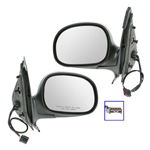 Power Side View Mirrors Black & Chrome Pair Set for Ford Expedition F150 Truck (Mirror F150 Power Truck Chrome)