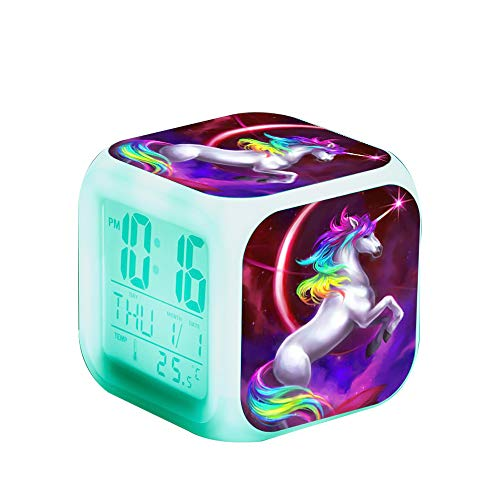 Unicorn Digital Alarm Clocks for Girls, Children Wake Up Bedside Clock LED Night Glowing Clock with Light Birthday Gifts for Kids Women Adult Bedroom (Unicorn 4)