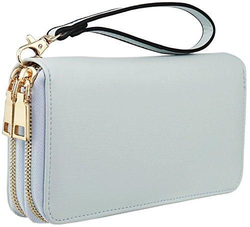 (B BRENTANO Vegan Double-Zipper Wallet Clutch with Removable Wrist Strap (Logo - Mint))