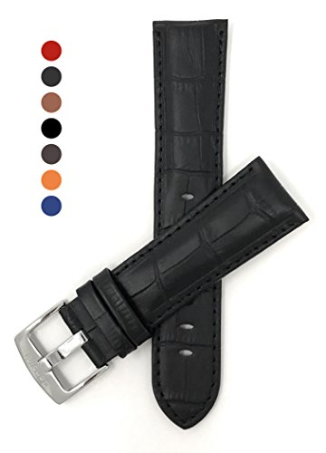 22mm Black Mens' Alligator Style Genuine Leather Watch Strap Band Bulova Mens Black Strap Watch