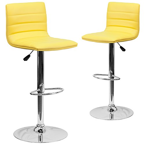 (Flash Furniture 2 Pk. Contemporary Yellow Vinyl Adjustable Height Barstool with Chrome Base)