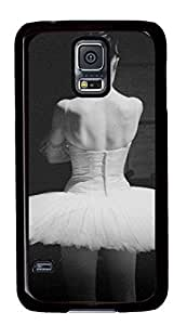 Diy Fashion Case for Samsung Galaxy S5,Black Plastic Case Shell for Samsung Galaxy S5 i9600 with Ballet-Dancer