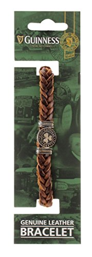 Guinness Genuine Brown Leather Shamrock Bracelet
