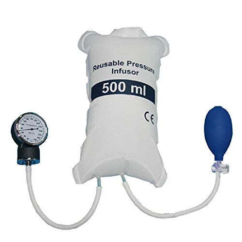 Denshine Pressure Infusion Bag 500ml With Gauge And Hand Pump Ball for Blood and Fluid Quick Infusion ()