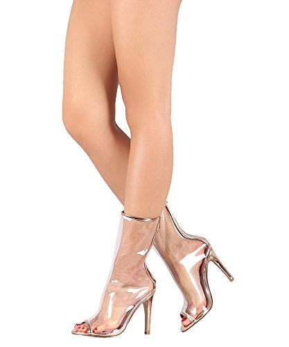ROF Women's New Fashion Clear Lucite Open Toe Metallic Single Sole Stiletto Heel Ankle Boots ROSE GOLD (Single Sole Boot)