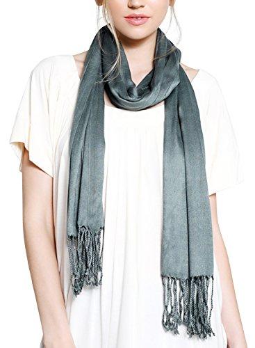 ililily Solid Soft Silky Viscose Thin Fringed Stole Shawl Neck Wear Wrap Scarf, Green Grey