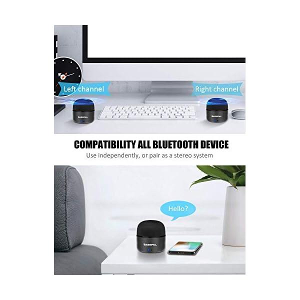 Enceinte Bluetooth Portables, BassPal Petit Haut-Parleur sans Fil avec Radio, Étanche IPX5, HD Stéréo Son et Basses Améliorées, Mini Format de Poche pour Douche de Voyage à Domicile Pool - 2 Pack 3
