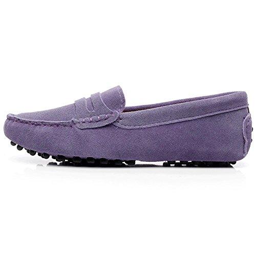 Rismart Mujeres Ante Cuero Moda Mocasines Ponerse Casual Pisos Zapatos Morado