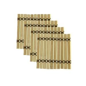 "3 Sets - ThinkBamboo Brand Bamboo Slat Coasters - 4.25"" x 4.25"" - 4 pieces per set - Light Tan"