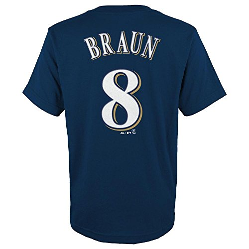 Milwaukee Braun Ryan Brewers (Majestic Ryan Braun Milwaukee Brewers Youth MLB Player Navy T-Shirt)