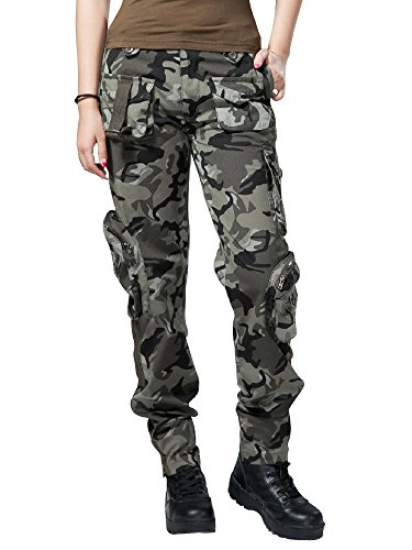 Women's Active Loose Fit Stylish Military Multi-Pockets Wild Cargo Pants