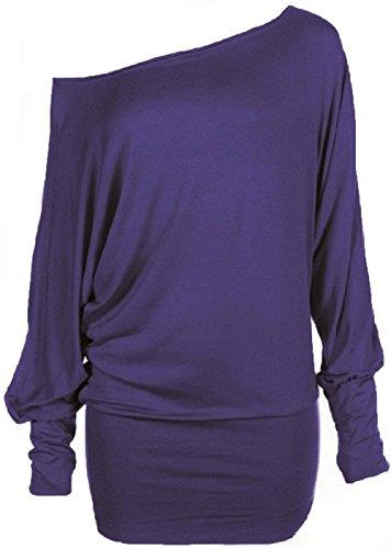 taille grande Hot longues manches Hanger batwing Femme tunique haut Violet BBq8f6