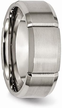 Rhodium-Plated Brushed Titanium Grooved Beveled Edge 8mm Comfort-Fit Band