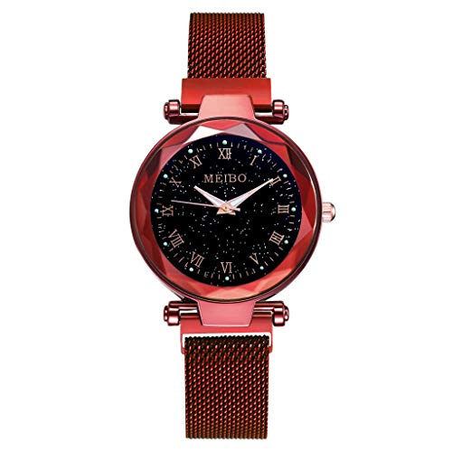 OutTop(TM) MB76 meibo Women's Girls Quartz Watch Starry Sky Flat Glass Quartz Mesh with Magnetic Buckle Analog Watch (Red)