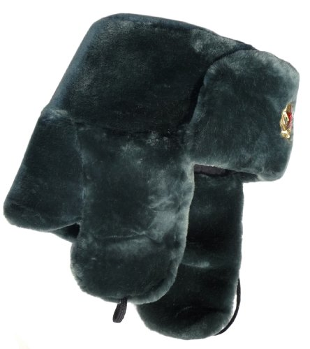 Sheepskin-like faux fur ushanka hat-58 Soviet Army soldier insignia ()