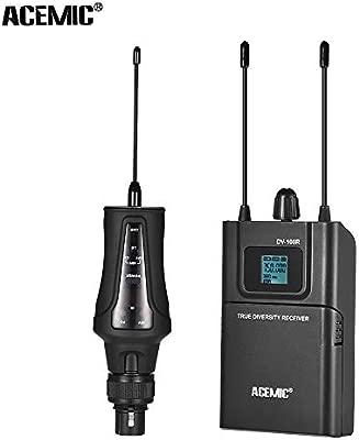 Leslaur Sistema de micrófonos UHF inalámbrico de Diversidad Real ...