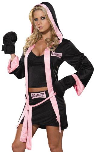 Dreamgirl Women's Boxer Girl Costume,Black/Pink,Small -