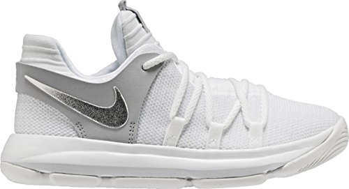 Nike Kids KD X Pre-School Basketball Shoe (1) White/Silver