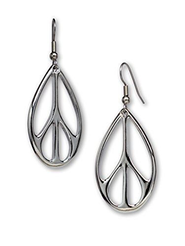 - Oval Hippie Peace Sign Dangle Earrings Silver Finish Pewter