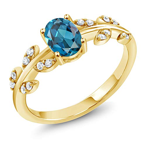 Gem Stone King 18K Yellow Gold Plated Silver 1.21 Ct Oval London Blue Topaz Solitaire Leaf Ring (Size 8) ()