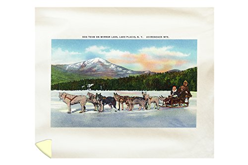 Lake Placid, New York - View of a Dogsled Team on Mirror Lake during Winter (88x104 King Microfiber Duvet Cover) by Lantern Press