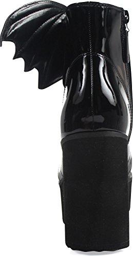 Jernhånd - Womens Flaggermus Fløy Patent Boot Sort
