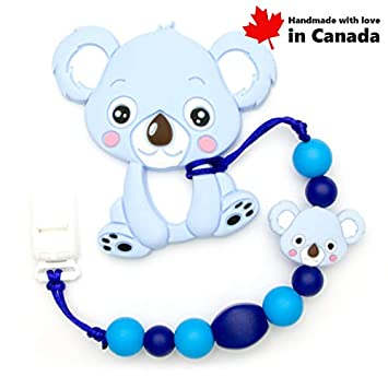 Teether Koala With Pacifier Clip (Blue)   High Quality Silicone ... 20baec0d4