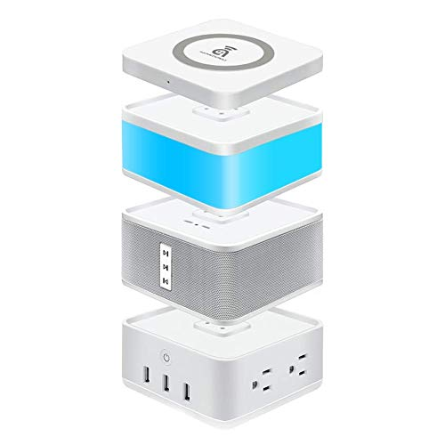 (Bluetooth Speaker, Power Strip with 4 AC/3 USB Port, LED Gesture Sensor Light, Wireless Charger, 4 in 1 Smart Home Modular Kit(FreeCube), POGO Pin Connected 4 Free Modules)