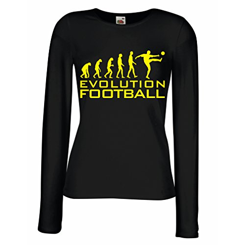 fan products of lepni.me N4466M Female Long Sleeves T-Shirt The Evolution Football (XX-Large Black Yellow)