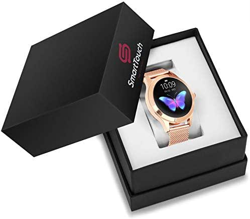 Smart Touch KW10 Ladies Smart Watch, IP68 Waterproof, Bluetooth | Sleep & Heart Rate Monitor, Pedometer, Physiological Reminder, Remote Camera| Smartwatch for Women w/Changeable Wrist Bands (Gold)
