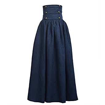 BLESSUME Gothic Skirt Lolita Steampunk High Waist Walking Skirt - Blue - X-Small
