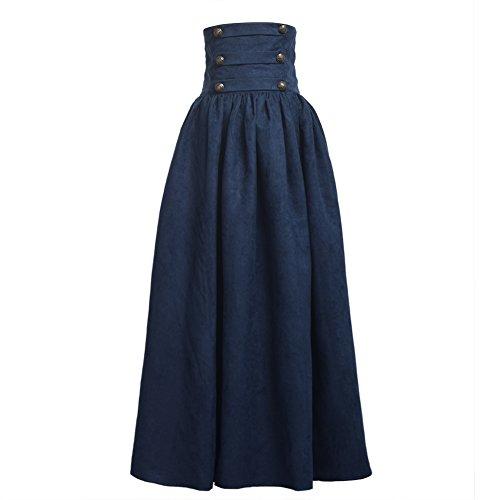BLESSUME Gothic Skirt Lolita Steampunk High Waist Walking Skirt - Medieval Renaissance Up Skirt Lace