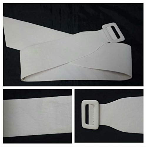 1 Piece White Faux Leather with White Buckle Women Belt 39 L. #ID-508 ()