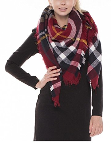 Achillea Oversized Tartan Checked Plaid Blanket Scarf Wrap Shawl (Burgundy Red)
