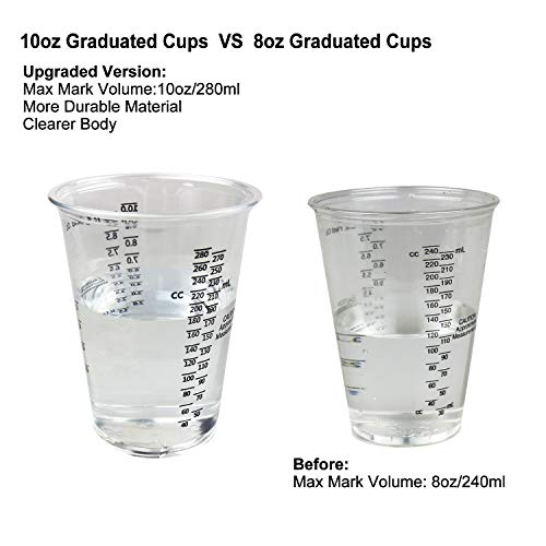 LET'S RESIN Resin Mixing Cups 20pcs Epoxy Resin Cups 10oz Plastic Graduated Cups 2pcs 100ml Reusable Silicone Measuring Cups with 20pcs Wood Mixing Sticks 5 Pairs Nitrile Gloves