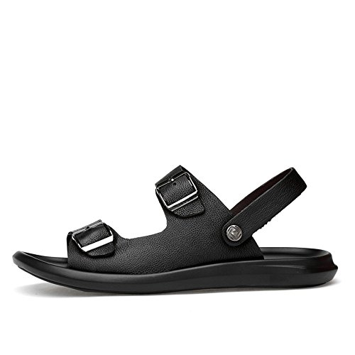 Men's Genuine Leather Beach Slippers Casual Sandals Belt Buckle Closed Non-Slip Soft Sole Shoes Adjustable Backless,Flip Flop Sandals for Men Black