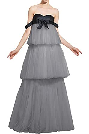 DressyMe Vogue Cake Dress Prom Ball Dress Strapless Tulle Bowknot-14-Gray