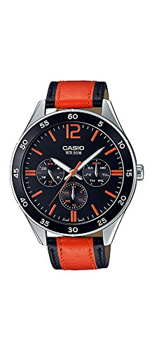 Casio Racing - Casio MTP-E310L-1A2V Men's Racing Black Orange Leather Band Multifunction Watch