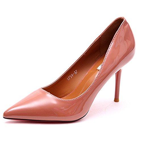 YMFIE Laca Estilo Solo de Zapatos e Zapatos Fina de de Europeo Simple tacón Moda Zapatos de Damas Trabajo de wEqHwXrC
