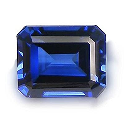 Blue Created Sapphire Octagon Facet Unset Gemstone 11mm x 9mm by uGems