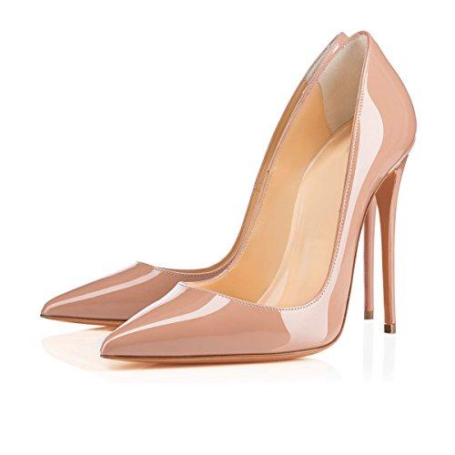 Arc-en-Ciel zapatos de las mujeres del estilete del tacón alto de la bomba del dedo del pie en punta Nude