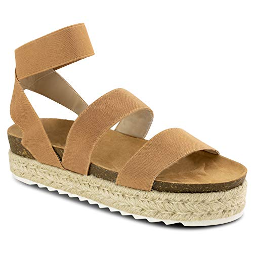 (RF ROOM OF FASHION Women's Slide On Espadrille Platform Comfort Ankle Elastic Strap Footbed Wedge Sandal Camel Size.6.5)