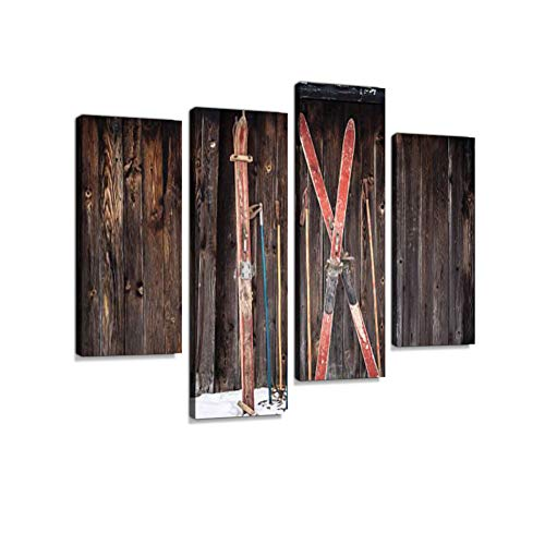 (Old Retro Styled skis Sticking in Snow on Wooden Wall Canvas Wall Art Hanging Paintings Modern Artwork Abstract Picture Prints Home Decoration Gift Unique Designed Framed 4 Panel)
