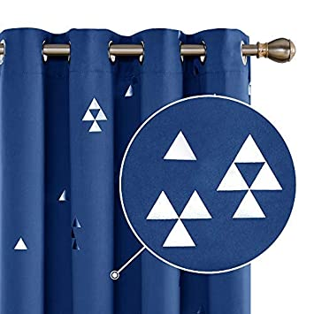 Deconovo Cortinas para Ventana de Sal/ón Dormitorio y Cocina Dise/ño de Tri/ángulo con Ojales 2 Piezas 117 x 183 cm Azul