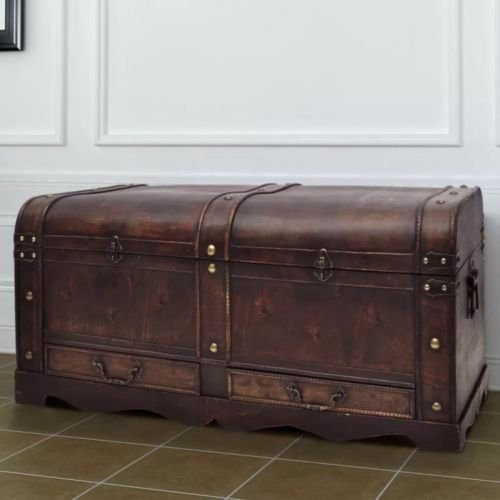 Large Wooden Treasure Chest Antique Vintage Ottoman Trunk Storage Furniture storage inc