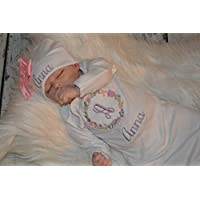 Personalized Baby Girl Outfit, Newborn Gown and Hat Monogrammed, Purple Pink Flower Set