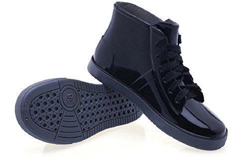 Kuro&Ardor Fashionable Rainy Day Women's Rain Short Boots Shoes High Top Lace-up Waterproof Girl (5 US 22.5cm, Black)