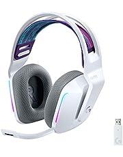 Logitech G733 LIGHTSPEED Wireless Gaming Headset with Suspension Headband, LIGHTSYNC RGB, Blue Voice Mic Techonolgy and PRO-G Audio Drivers - White